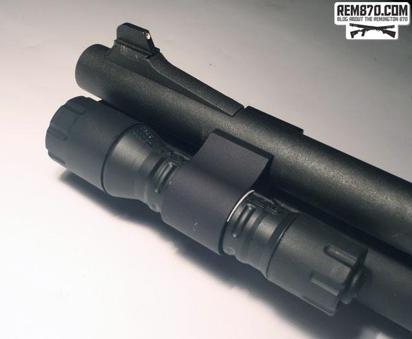 Streamlight Polytac Flashlight on CDM Gear Clamp on Remington870