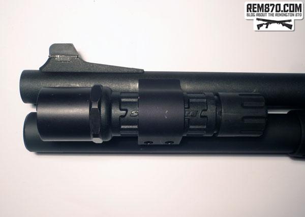 SureFire G2 Nitrolon LED Flashlight on CDM Gear Clamp on Remington 870
