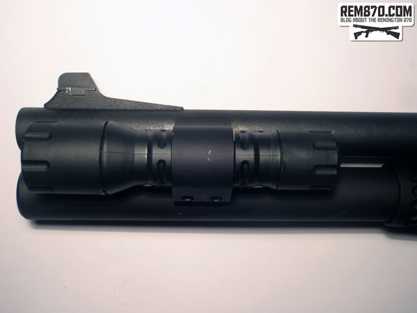 Streamlight Polytac Flashlight on CDM Gear Clamp on Remington870