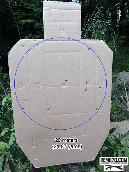 Shotgun Buckshot Pattern - 20 Meters