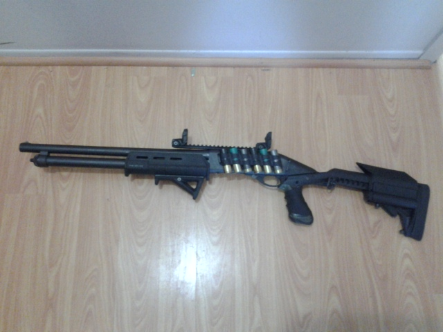 Remington 870 with Knoxx Stock, Knoxx Powerpak, Magpul Forend, GG&G Sidesaddle, AFG grip, Rail