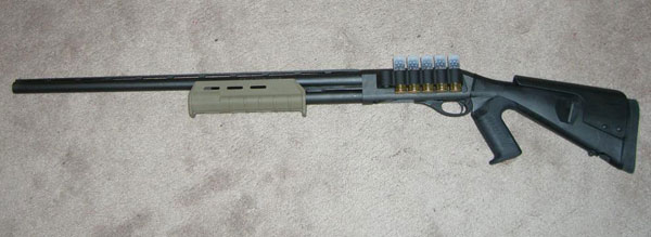 Remington 870 with Mesa Tactical Sidesaddle, Urbino Stock, Magpul Forend