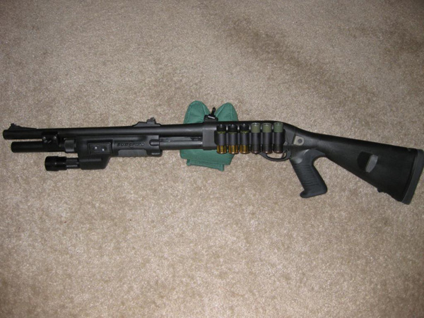 Remington 870 with Urbino Stock, Surefire Forend and Mesa Tactical Sidesaddle