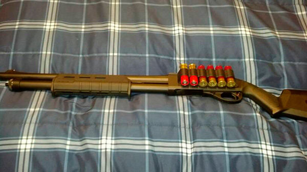 Remington 870 with Magpul Stock and Forend and Mesa Tactical Sidesaddle