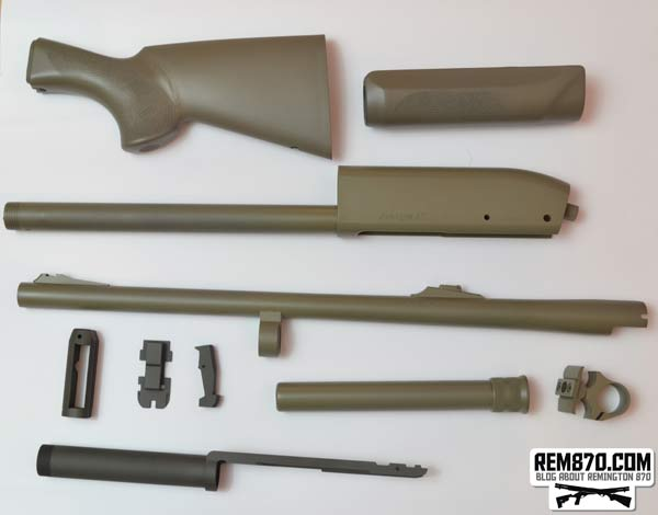 Remington 870 Parts Painted with Gun Kote