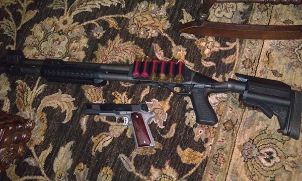 Parkerized Remington 870 Tactical, Knoxx SpecOps Recoil Reducing Stock, Blackhawk Stock Shell Holder, CAA Forend