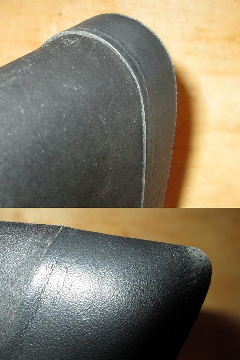 Slight misfitting of pad at top (above) and bottom (below) of stock