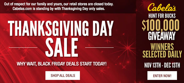 Cabela's Thanksgiving Sale