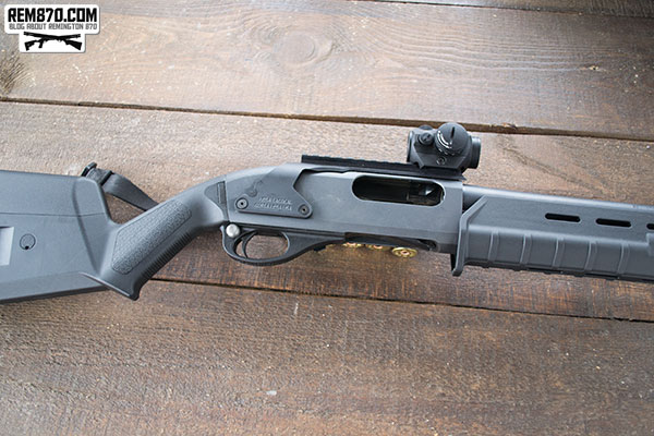 Remington 870 with Aimpoint Red Dot on Mesa Tactical Sidesaddle with Rail