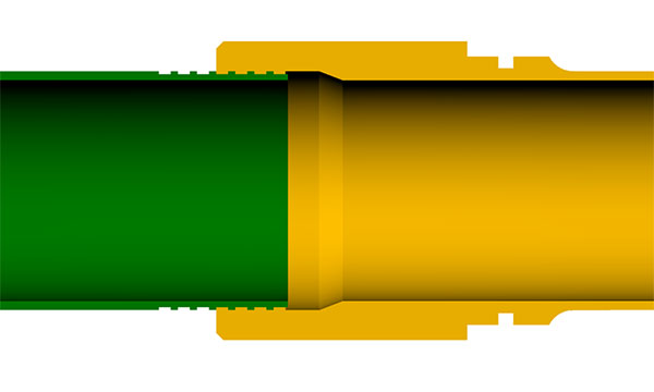"Illustration of the remaining gap between the base magazine tube and the extension's tube section with the magazine tube threaded a typical .3"" into the extension"