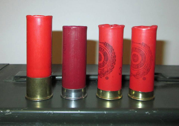 Some of the shells used to test the sensitivity of the Vang Comp kit to shell crimp quality.  The Vang Comp extension & follower was quite unreliable with all of these, including the two on the left, which are some of my own handloads that function fine in my other magazine extensions.