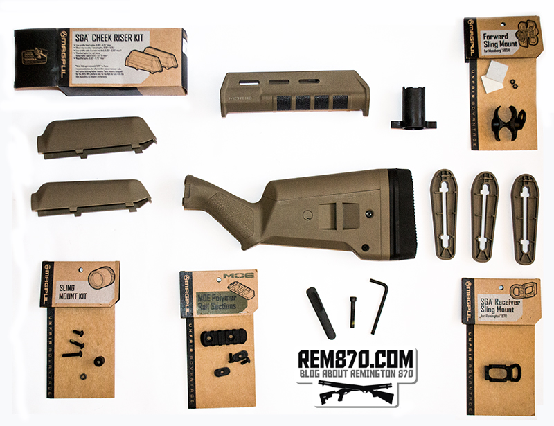 Magpul SGA Stock and MOE Forend for Remington 870 with Accessories