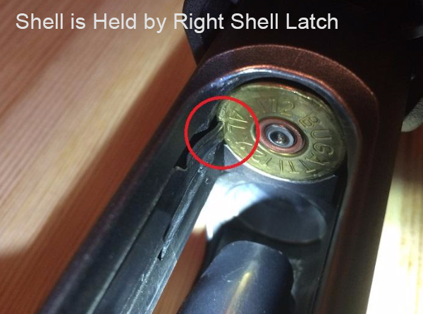 Right Shell Latch Holds Round, Remington 870