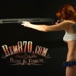 1024x768, Hot Girl with Remington 870 Shotgun Wallpaper