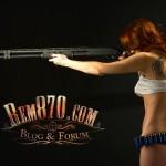 1280x1024, Hot Girl with Remington 870 Shotgun Wallpaper