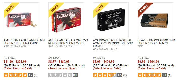 Shotgun, handgun and rifle ammo