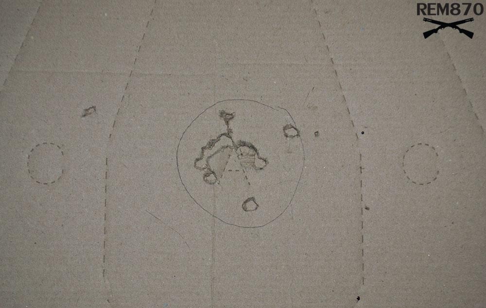 3 inches Remington Buckshot Pattern on 5 feet: