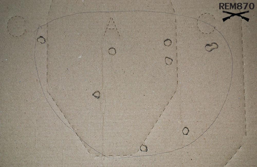 9 inches Remington Buckshot Pattern on 15 feet: