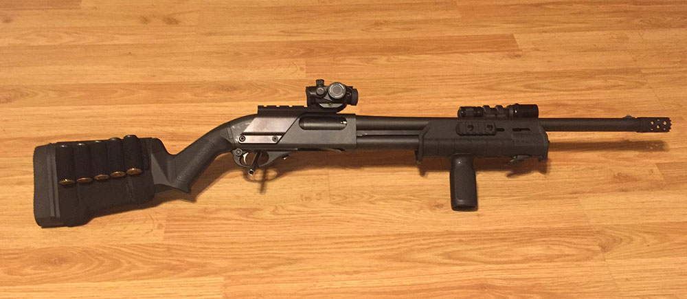 Remington 870, Magpul Furniture, Breacher Choke, Red Dot Sight