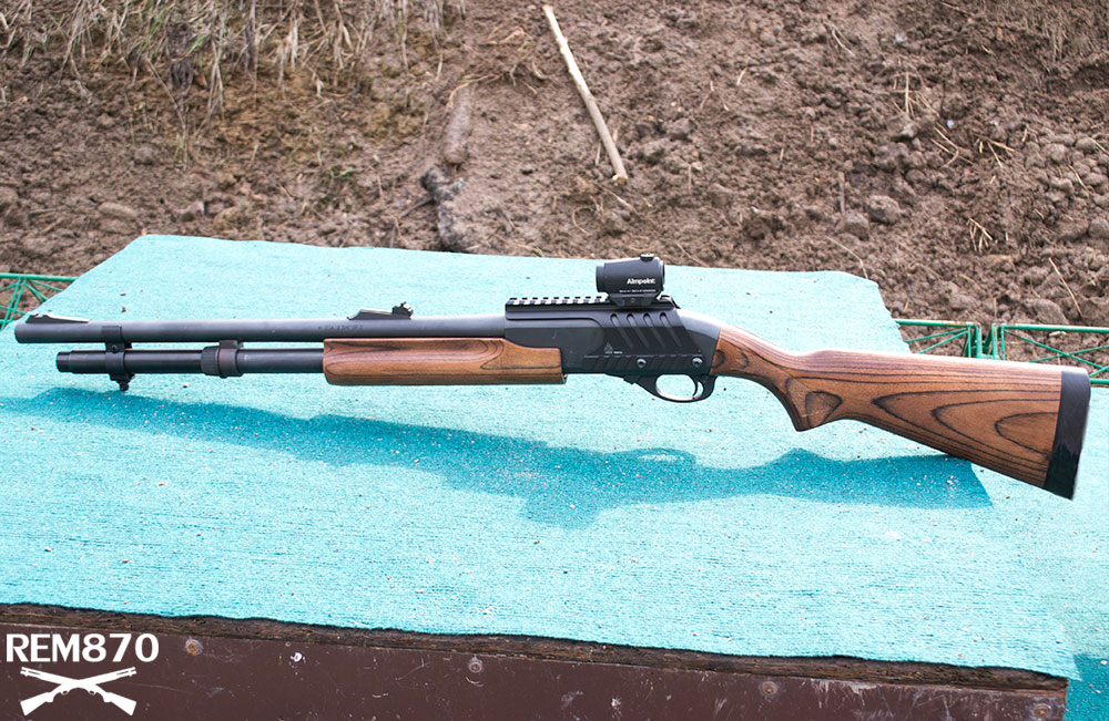 Remington 870 with Wood Furniture and Aimpoint Red Dot