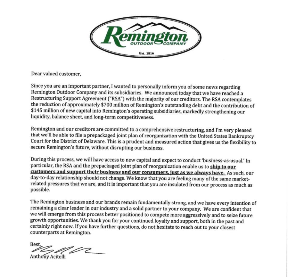 Remington Bankruptcy? It's OK! Debt reduced by $700 million and received $145 million