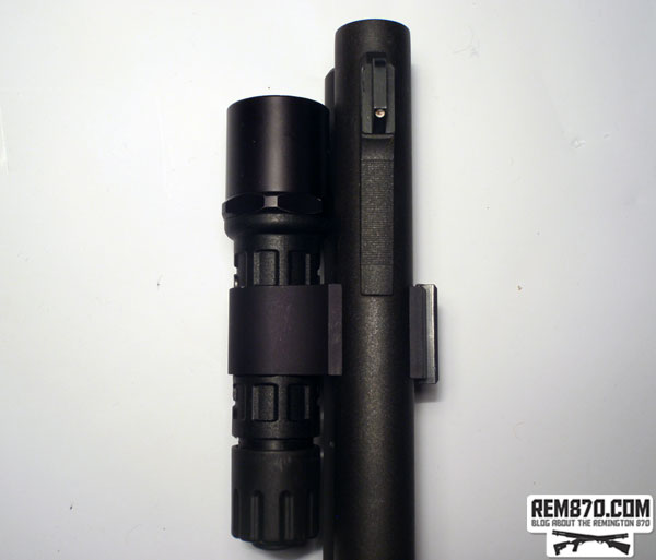 SureFire G2 Nitrolon LED Flashlight on CDM Gear Clamp on Remington 870