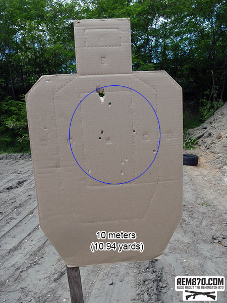 Shotgun Buckshot Pattern - 10 Meters