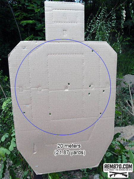 Shotgun Buckshot Pattern - 20 Meters