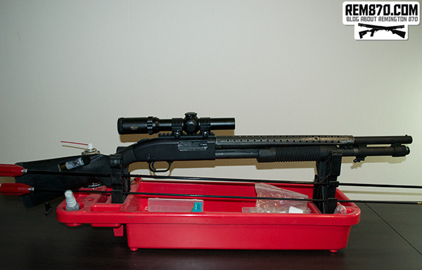 Mossberg 590 with Aimpoint Holographic Sight and Millett Scope
