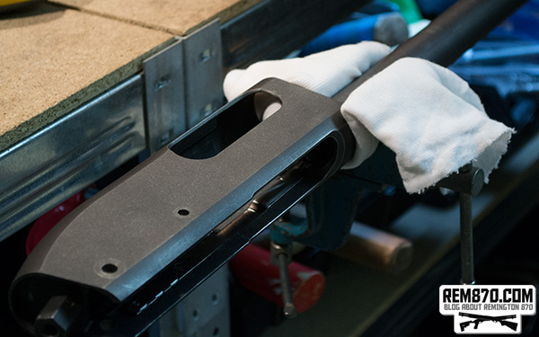 Remington 870 Receiver Fixed in Vise