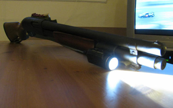 Remington 870 with Streamlight TLR-1, Indoors