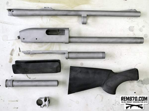 Remington 870 Parts After Sandblasting