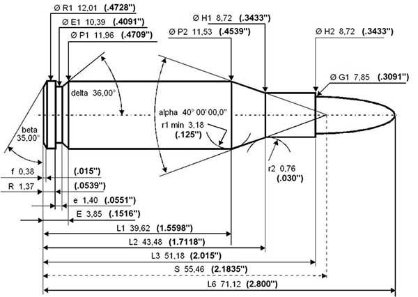 .308 Winchester maximum C.I.P. cartridge dimensions