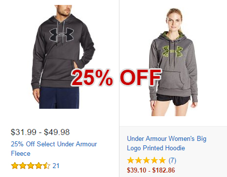 Save 25% on Under Armour Fleece, click here!