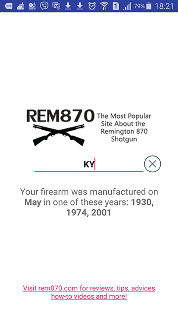 FREE Remington Serial/Barrel Number Lookup for your Android device