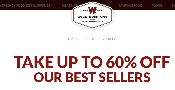 Wise Company (Food for Preppers) Deals on Black Friday/Cyber Monday