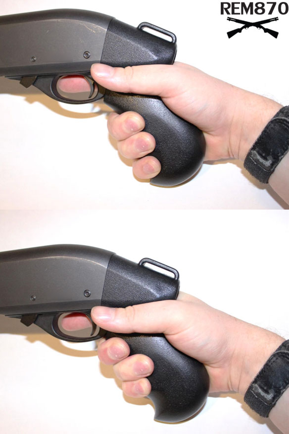 Gripping TacStar Grip, Pinky Above, in Groove