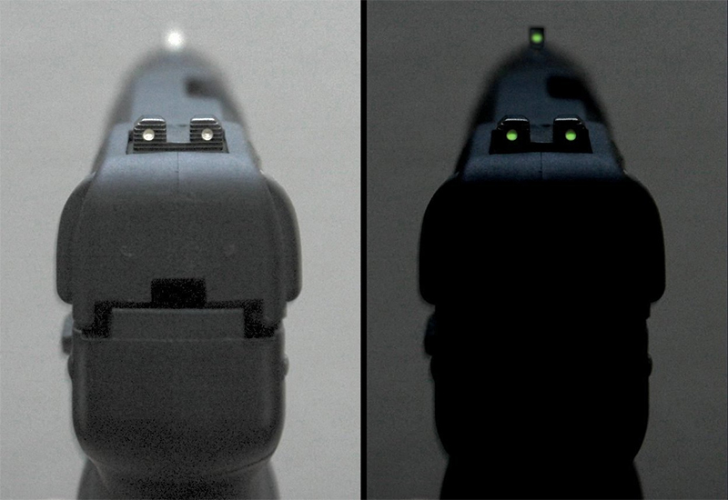 The tritium-illuminated fixed sights of the Five-seveN USG pistol, in normal lighting and dim lighting.