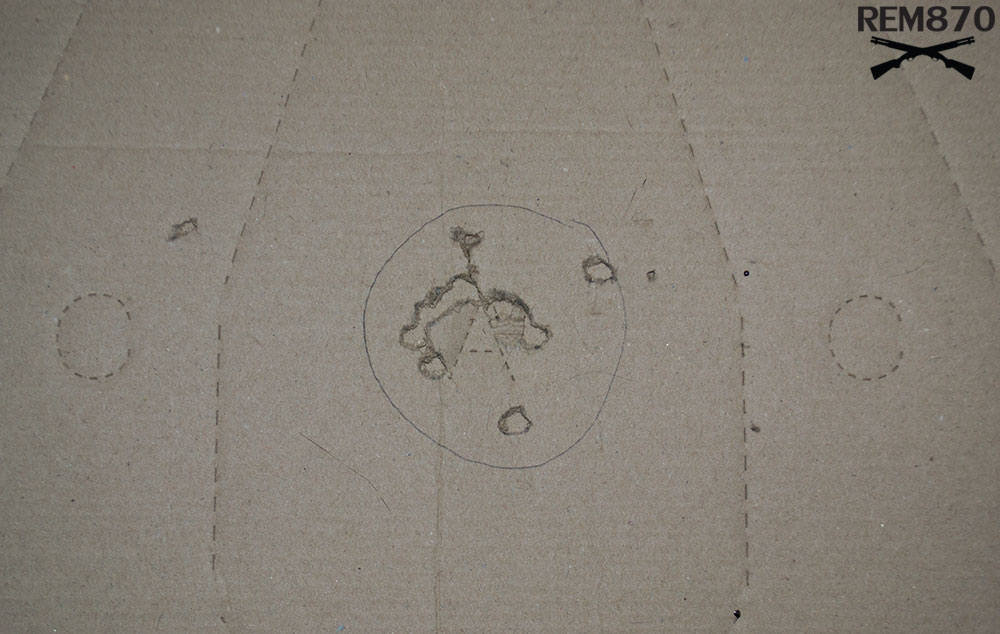 3 inches Remington Buckshot Pattern on 5 feet: