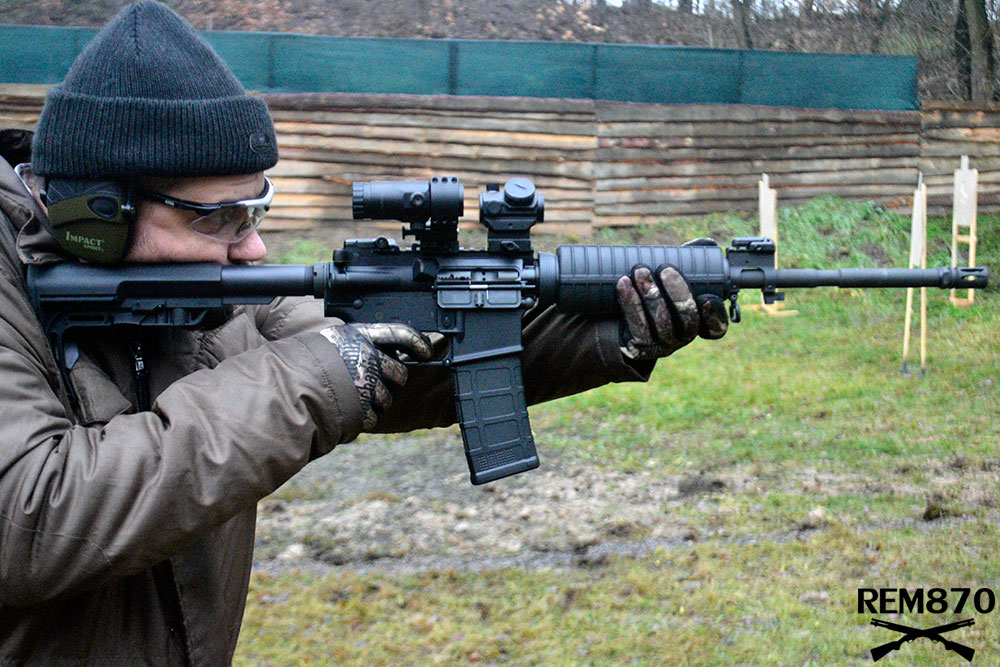 AR-15 Rifle with Magnifier and Holographic Sight