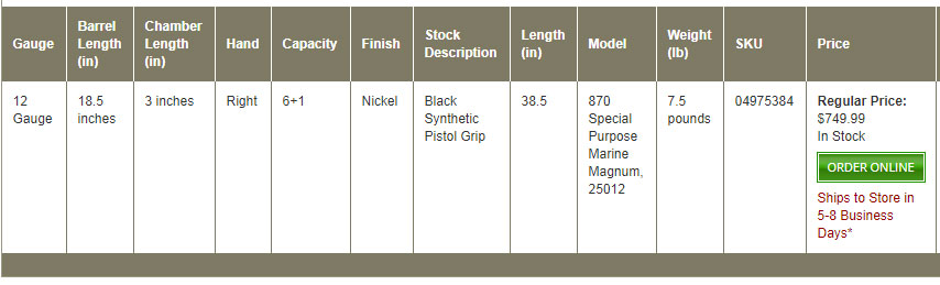 Remington 870 Marine Order Online