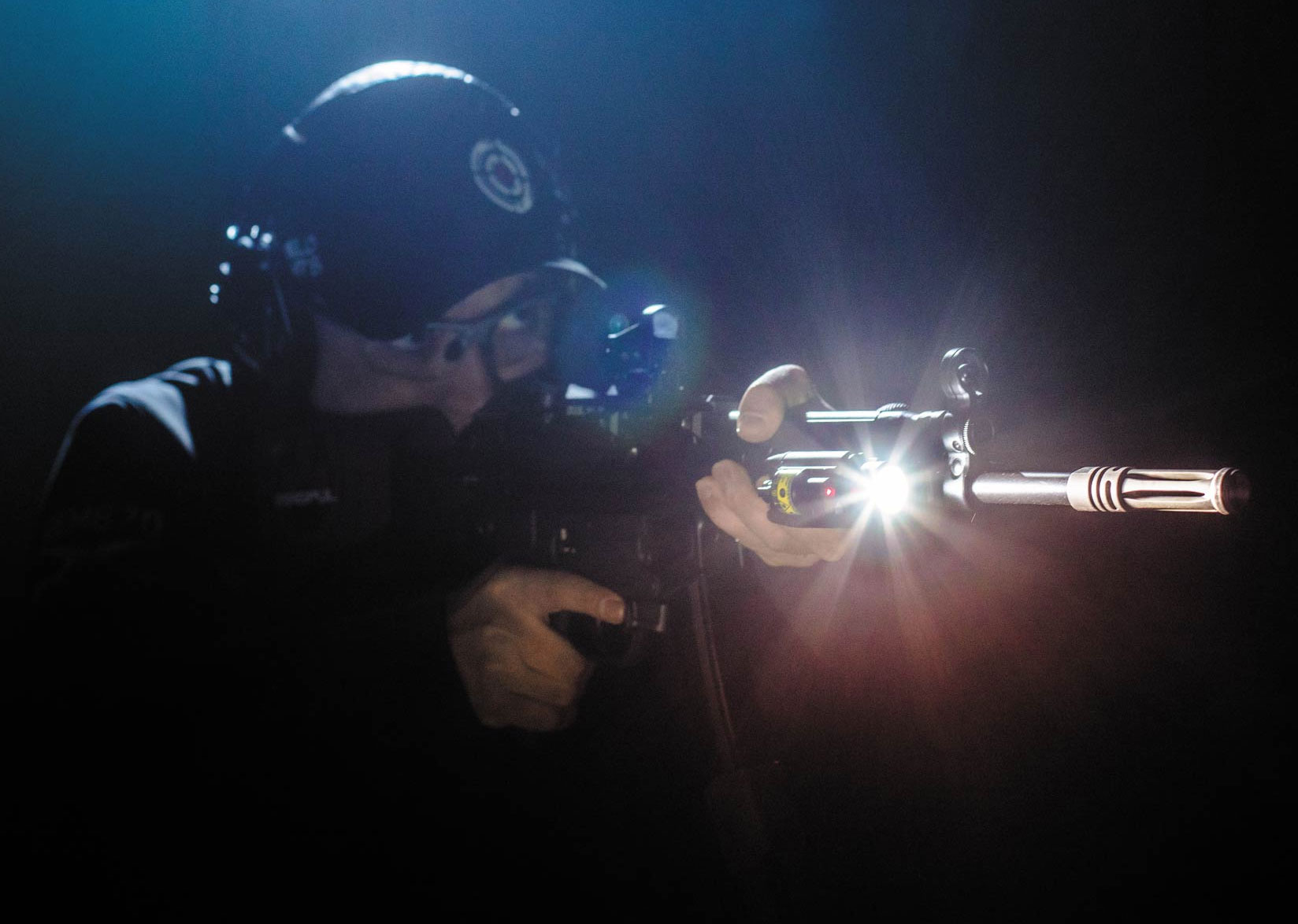 Author, Vitaly Pedchenko, Testing Olight Baldr with Red Laser Sight